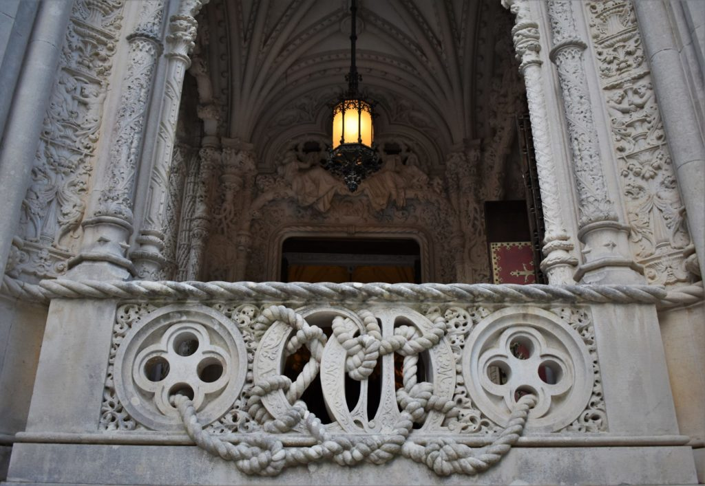 Manueline architectonic details of the Quinta da Regaleira main palace are spectacular