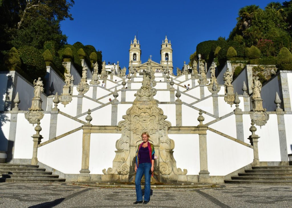 Perfect harmony of the staircase leading to Bom Jesus do Monte church in Braga