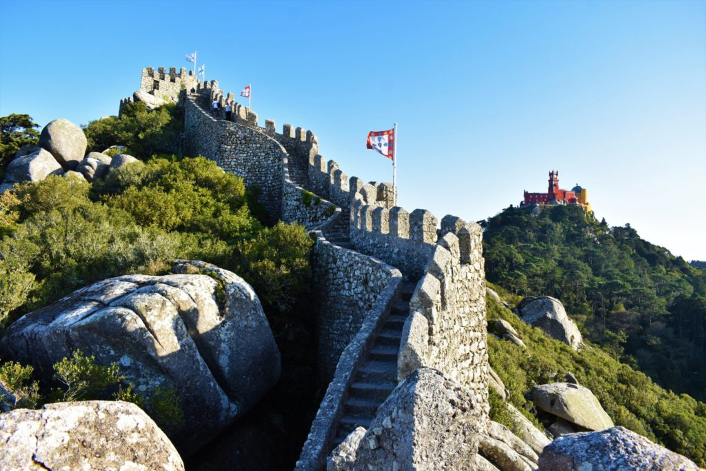 The Moorish castle and the Pena Palace in Sintra, Portugal