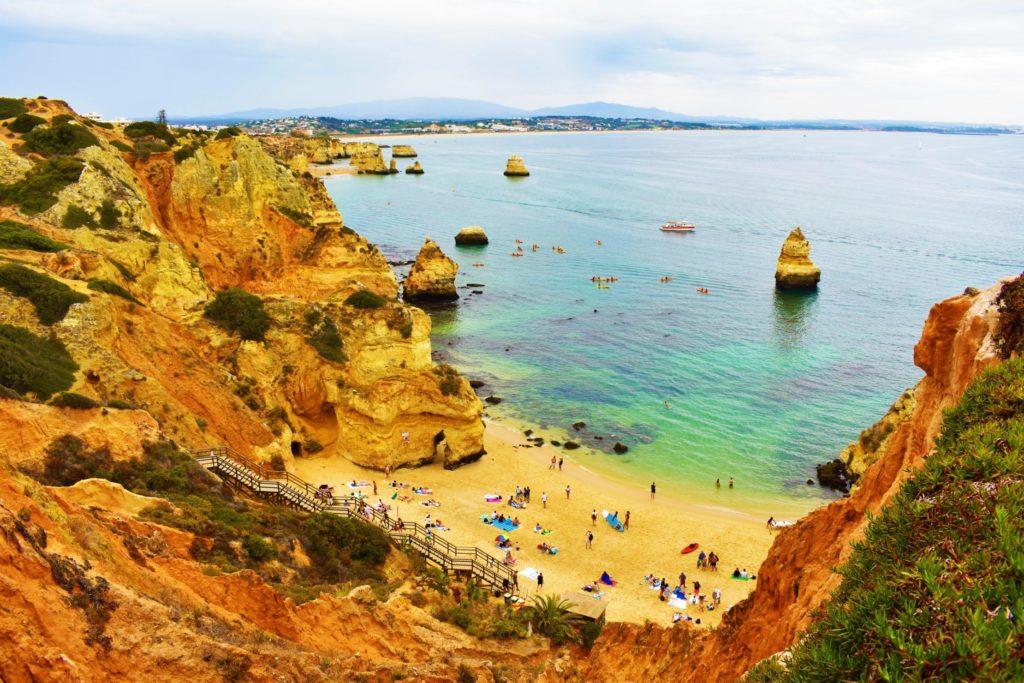 Spectacular view over Praia do Camilo and the coastline of Lagoa, Portugal